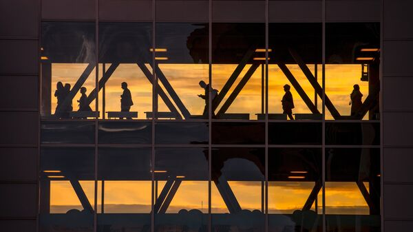 Пассажиры в международном аэропорту Пулково в Санкт-Петербурге