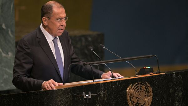 Министр иностранных дел России Сергей Лавров выступает на Генеральной Ассамблее Организации объединенных наций (ООН) в Нью-Йорке. 28.08.2018