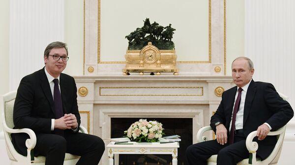 Президент РФ Владимир Путин и президент Сербии Александр Вучич во время встречи в Москве. 2 октября 2018