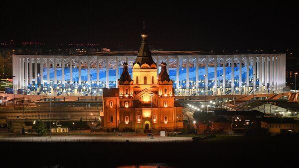 Вид на стадион Нижний Новгород и собор Александра Невского
