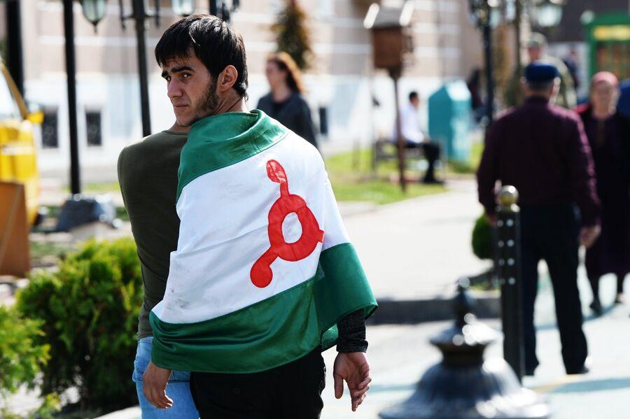 Митинг в Магасе против принятия соглашения об установлении границы между Ингушетией и Чечней