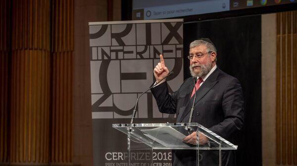 Глава Совета раввинов Европы Пинхас Гольдшмидт на вручении премии CER Prize