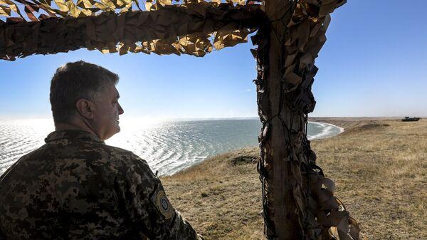 Президент Украины Петр Порошенко во время учений Вооруженных сил Украины на побережье Азовского моря. 12 октября 2018