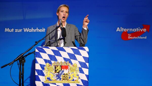 Алис Вайдель (Альтернатива для Германии) выступает перед своими сторонниками после объявления данных экзит-поллов на выборах в баварский ландтаг. 14 октября 2018