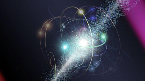 Атом, электрон и окружающая его свита из виртуальных частиц