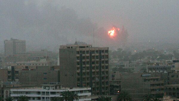 Взрыв в Багдаде во время начала военной операции США в Ираке. 20 марта 2003