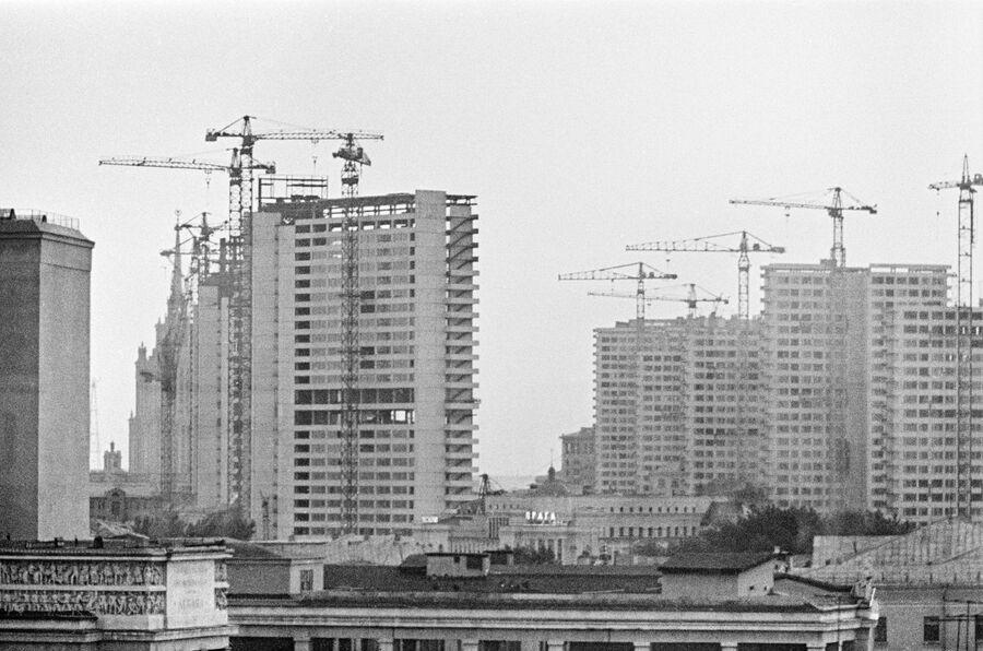 Строительство проспекта Калинина (Новый Арбат). Москва, 1963 год.