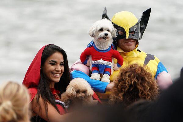 Ежегодный парад в канун Хеллоуина на площади Томпкинс в Нью-Йорке