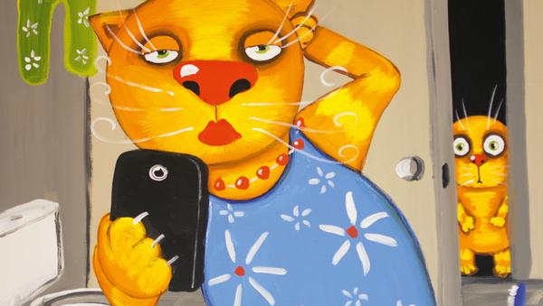 Картина Васи Ложкина Сэлфи в ванной