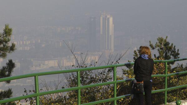 Вид на Македонскую столицу Скопье с горы Водно