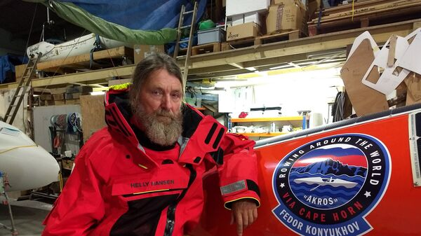 Федор Конюхов во время подготовки к одиночному переходу на весельной лодке АКРОС вокруг света в Новой Зеландии