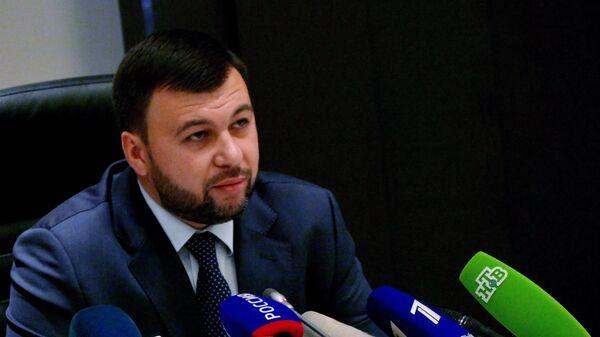Глава Донецкой народной республики Денис Пушилин на пресс-конференции в Донецке
