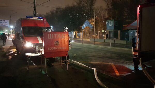 Ликвидация пожара в здании ритуальной службы в Люберцах