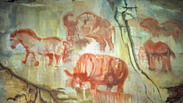 Наскальные рисунки эпохи палеолита, найденные в пещере Шульган-Таш в Башкирии.