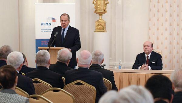 Глава МИД РФ Сергей Лавров выступает на общем собрании РСМД. 20 ноября 2018