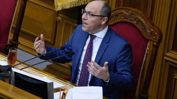 Председатель Верховной рады Украины Андрей Парубий на заседании Верховной рады Украины, посвященном рассмотрению государственного бюджета Украины на 2019 год