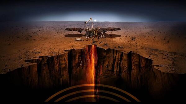 Иллюстрация спускаемого модуля InSight на Марсе