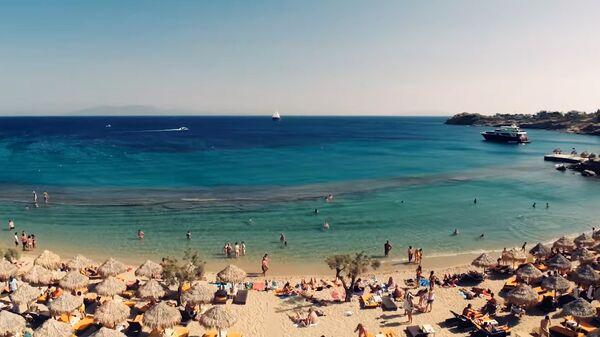 Пляж Парадайс, на Миконосе, Греция