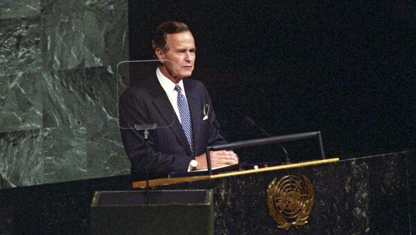 Президент США Джордж Буш выступает на Генассамблее ООН. Архивное фото