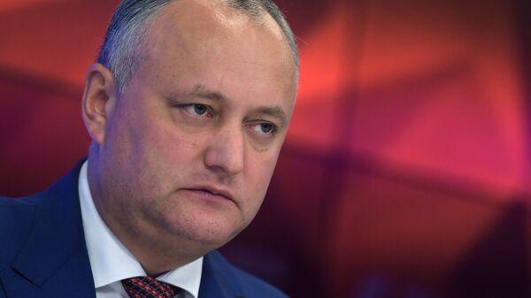 Президент Молдавии Игорь Додон во время пресс-конференции в Москве