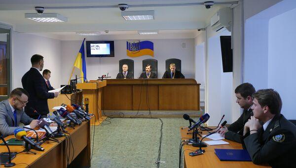 Заседание Оболонского районного суда Киева, где рассматривается дело о государственной измене экс-президента Украины Виктора Януковича.  5 декабря 2018