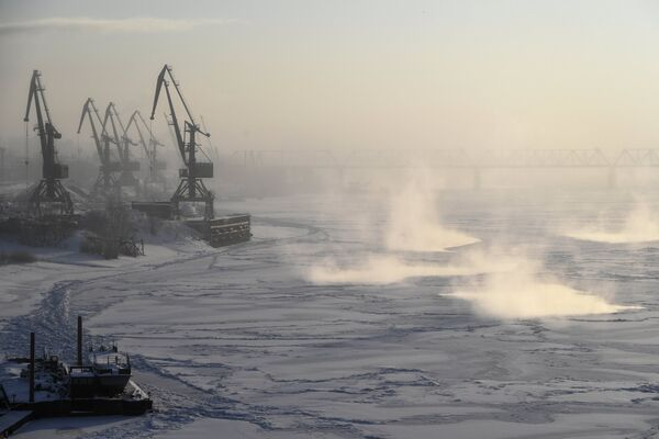 Замерзшая Обь в Новосибирске