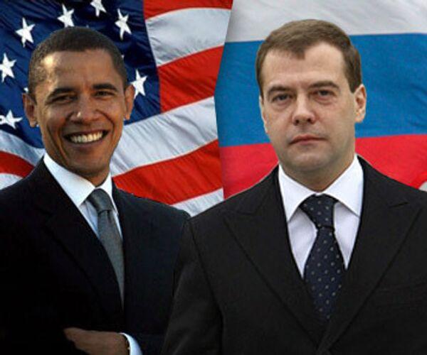 Барак Обама и Дмитрий Медведев. Коллаж