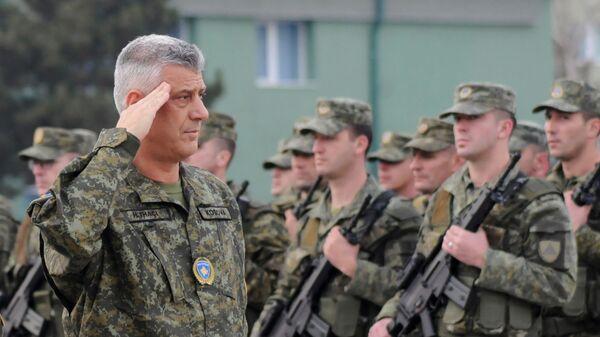 Президент Косово Хашим Тачи и Силы безопасности Косово за день до голосования парламента по вопросу формирования национальной армии. 13 декабря 2018