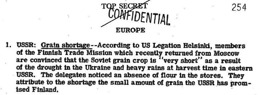 Фрагмент обзора донесений разведки США от 14 декабря 1946 года, в котором сообщается о нехватке зерна в СССР