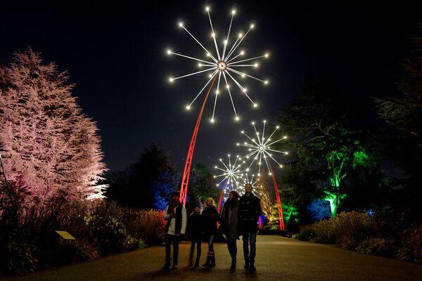 Люди на мероприятии Рождество в Кью-Гарденс на юго-западе Лондона