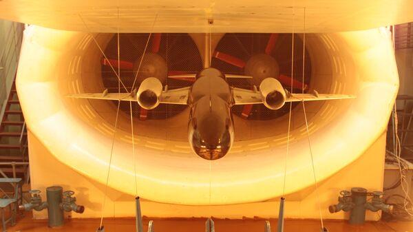 Испытание модели ближне-среднемагистрального самолета МС-21 в дозвуковой аэродинамической трубе ЦАГИ