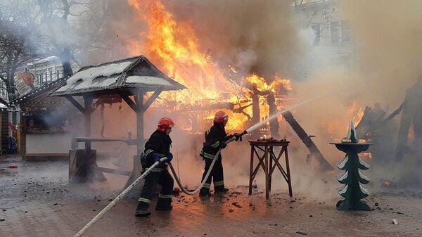 Ликвидация пожара на рождественской ярмарке в Львове, Украина. 22 декабря 2018