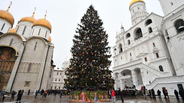 Новогодняя елка на Соборной площади Московского Кремля
