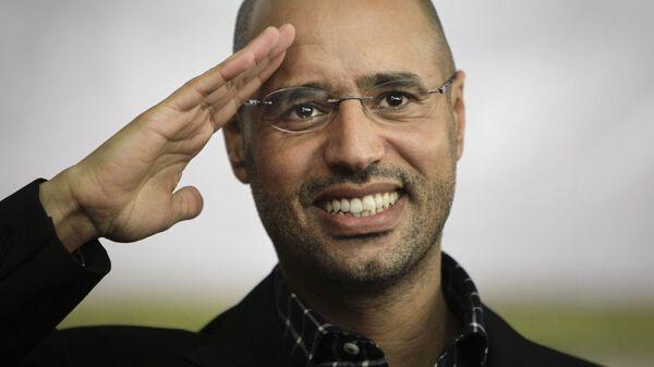 Сын Муаммара Каддафи Саиф аль-Ислам в Триполи, Ливия. 2011 год