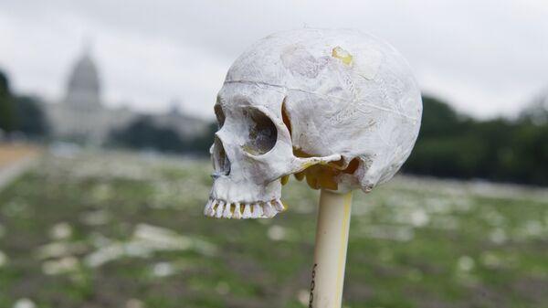 Фигура в виде черепа на фоне Капитолия в Вашингтоне