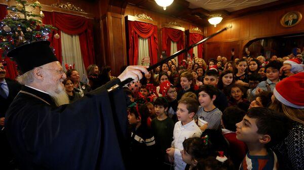 Константинопольский патриарх Варфоломей в Сочельник в резиденции в Фанаре. 24 декабря 2018