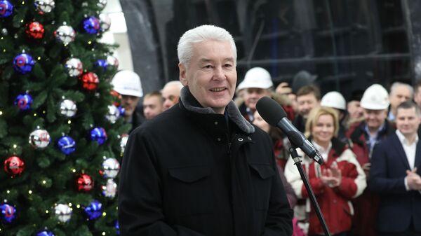 Мэр Москвы Сергей Собянин выступает на открывшейся станции Савеловская Большой кольцевой линии