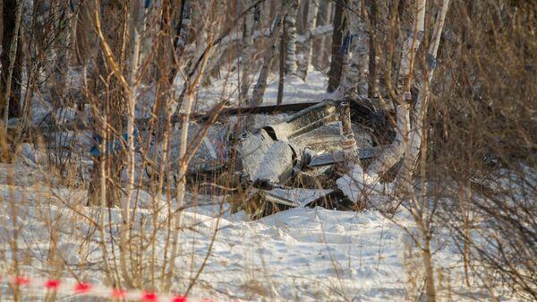 Место крушения вертолета Agusta A119  в районе поселка Верхняя Березовка в Бурятии. 30 декабря 2018
