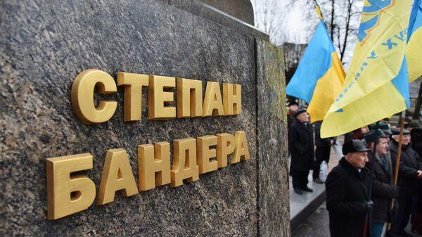 Участники марша националистов, приуроченного к 110-й годовщине со дня рождения Степана Бандеры, во Львове. 1 января 2019