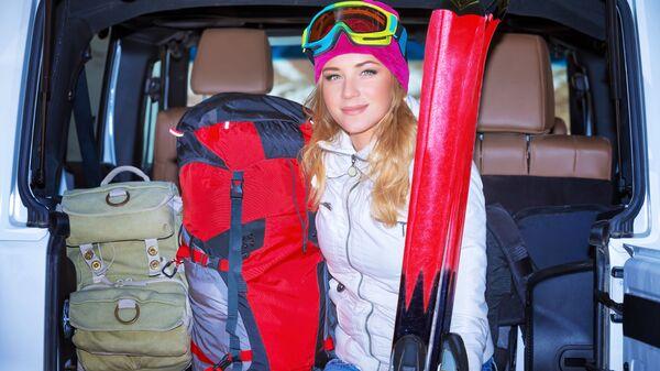 Девушка на горнолыжном курорте