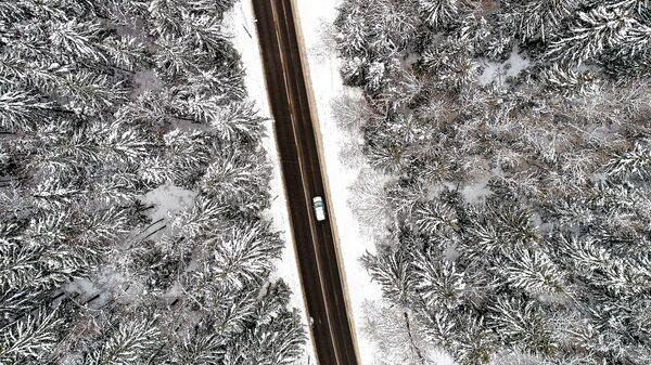 Автомобиль едет по дороге в Московской области