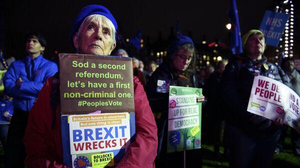 Участники акции против Brexit у здания парламента Великобритании в Лондоне. 15 января 2019