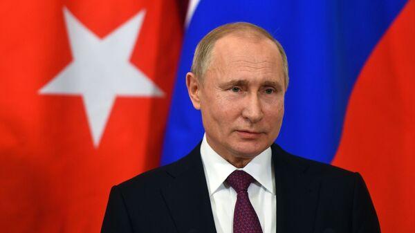 Владимир Путин во время совместной с президентом Турции Реджепом Тайипом Эрдоганом пресс-конференции по итогам встречи. 23 января 2019