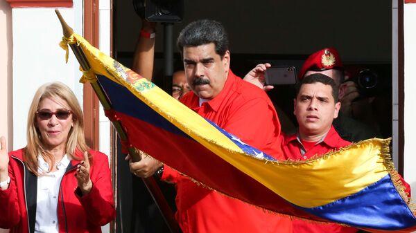 Президент Венесуэлы Николас Мадуро во время митинга в Каракасе. 23 января 2019