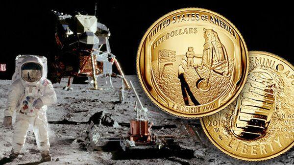Пятидолларовая золотая юбилейная монета в честь 50-й годовщины миссии Апполон-11