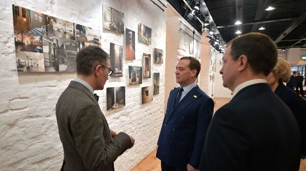 Дмитрий Медведев во время посещения Учебного театра  ГИТИСа в День Российского студенчества. 25 января 2019