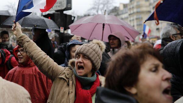 Митинг в Париже против насилия на акциях жёлтых жилетов. 27 января 2019