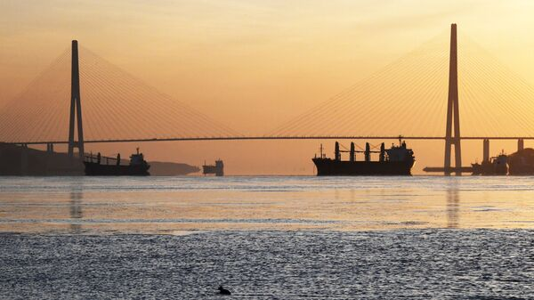 Вид на Русский мост во Владивостоке.