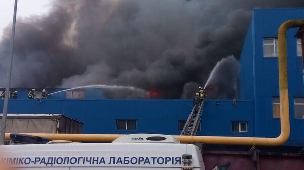 Сотрудники государственной службы по чрезвычайным ситуациям Украины во время тушения пожара на территории складских помещений в Киеве. 2 февраля 2019