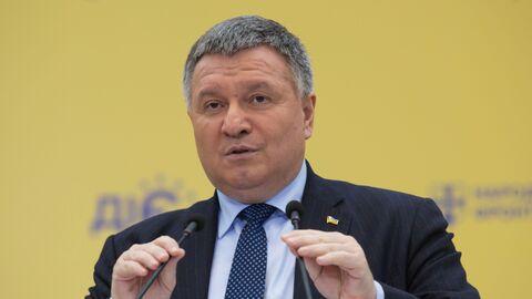 Министр внутренних дел Украины Арсен Аваков выступает на съезде партии Народный фронт в Киеве